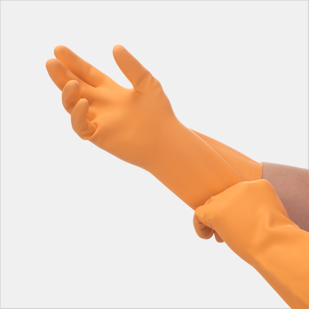 orange kitchen gloves
